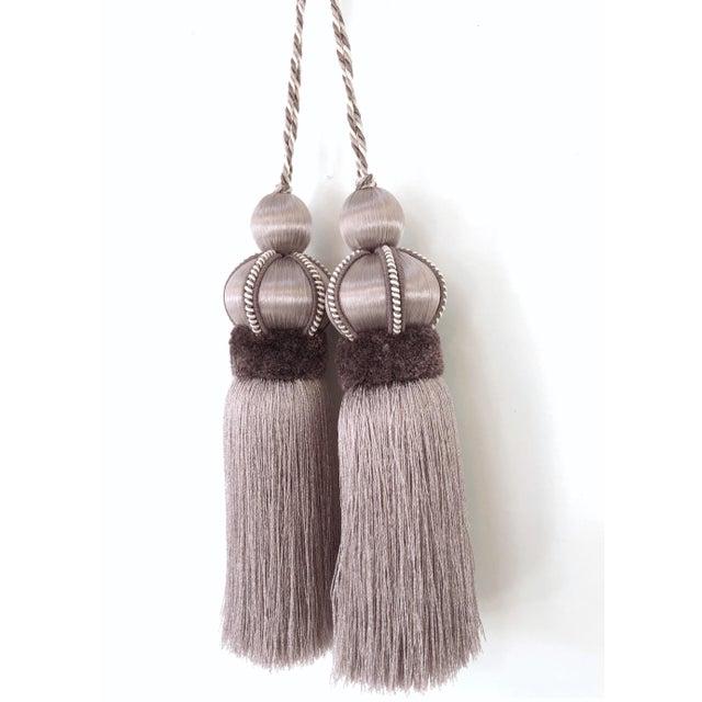 2010s Lavender Key Tassel With Cut Velvet Ruche - a Pair For Sale - Image 5 of 12