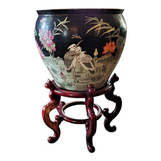 Chinese Famille Noir Fish Bowl Side Table With Stand For Sale