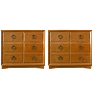 Robsjohn-Gibbings for John Widdicomb Mahogany 3 Drawer Chests or Commodes - a Pair For Sale