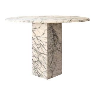 Vintage Modern Carrara Marble Oval Table For Sale