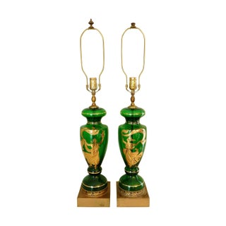 1940's Emerald Green Hand Painted Glass Lamps