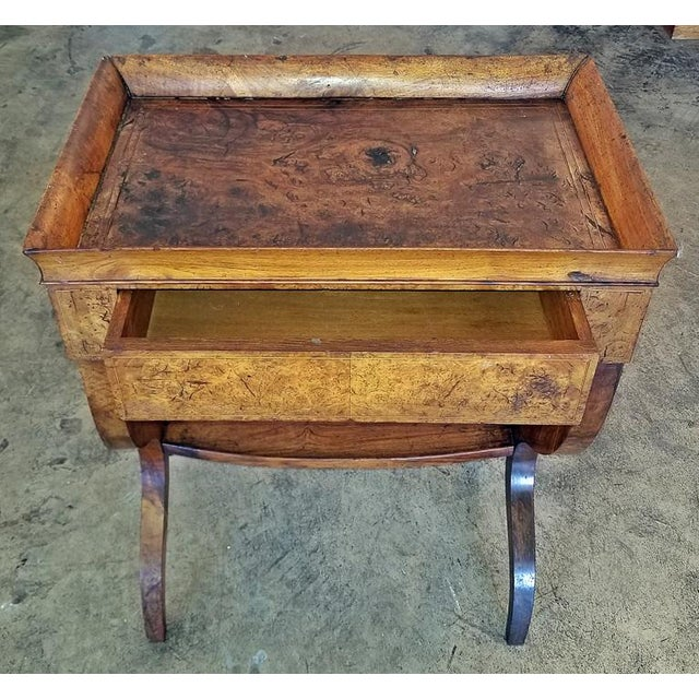 18c French Provincial Burl Walnut Lyre Work Table For Sale - Image 12 of 13