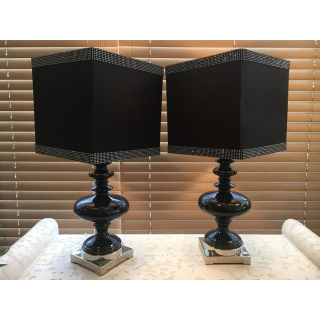 Black Ceramic Table Lamps - A Pair - Image 4 of 4