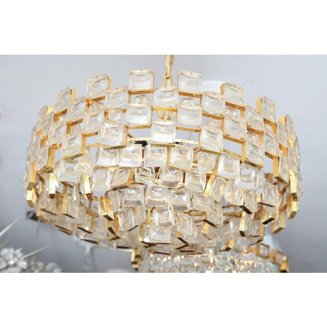 Vintage Palwa Square Glass and Brass Chandelier For Sale In New York - Image 6 of 10