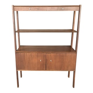 Mid-Century Walnut Shelving Unit Media Cabinet