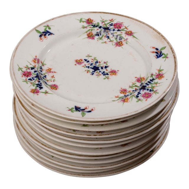 18th Century Staffordshire Soft Paste Floral Plates - Set of 12 For Sale
