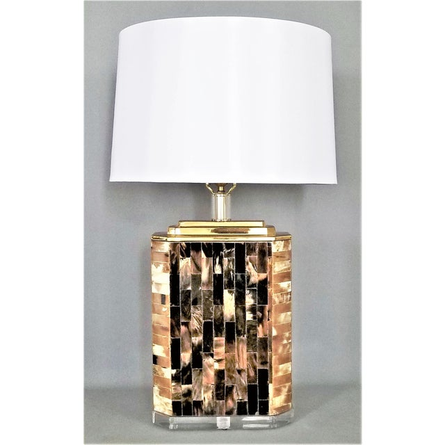 Karl Springer Vintage Tessellated Horn and Lucite Brass Table Lamp For Sale - Image 13 of 13