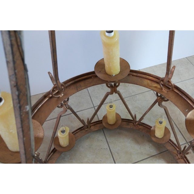 Late 20th Century Vintage Handmade Wrought Iron Two Tier Chandelier For Sale - Image 6 of 12