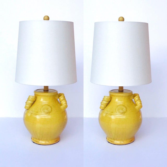 Pair of Elegant Chinese Pottery Lamps in Antique Yellow Glaze For Sale - Image 12 of 12