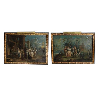 A Pair of 18th Century Italian Venetian Oil on Canvas Paintings For Sale