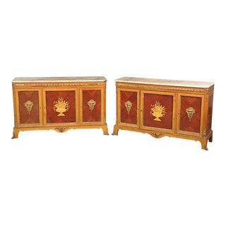 Rare Matched Pair French Inlaid Satinwood Marble Top Sideboards Servers For Sale