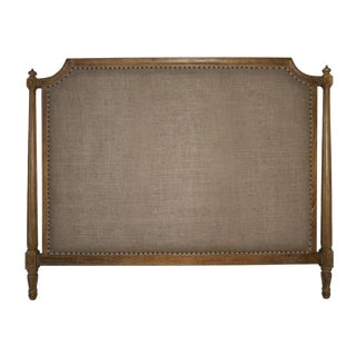 Traditional Burlap Upholstered King Headboard With Nailheads For Sale