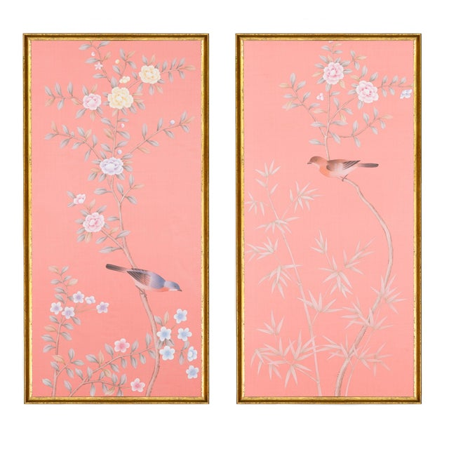 """Wood Jardins en Fleur """"Luton House"""" Chinoiserie Hand-Painted Silk Diptych by Simon Paul Scott in Italian Gold Frame - a Pair For Sale - Image 7 of 7"""