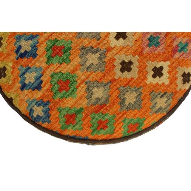 Arshs Crissy Orange/Blue Kilim Upholstered Handmade Ottoman For Sale In New York - Image 6 of 8