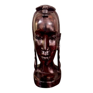 20th Century Carved African Female Bust in Ebony For Sale