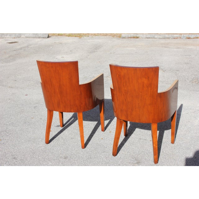 Pair of Solid Mahogany Ralph Lauren Modern Hollywood Armchairs . For Sale In Miami - Image 6 of 13