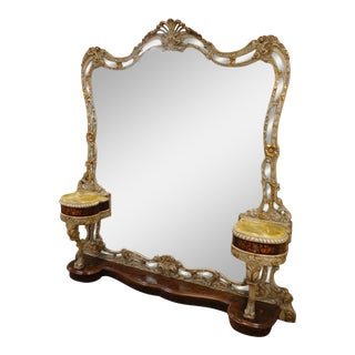 Fantastic Baroque Style Gilt Carved & Inlaid Vanity Dressing Pier Mirror w/ 2 Attached Onyx Top Stands c1980s
