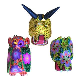 Folk Art Hand-Painted Guatemalan Masks - Set of 3 For Sale
