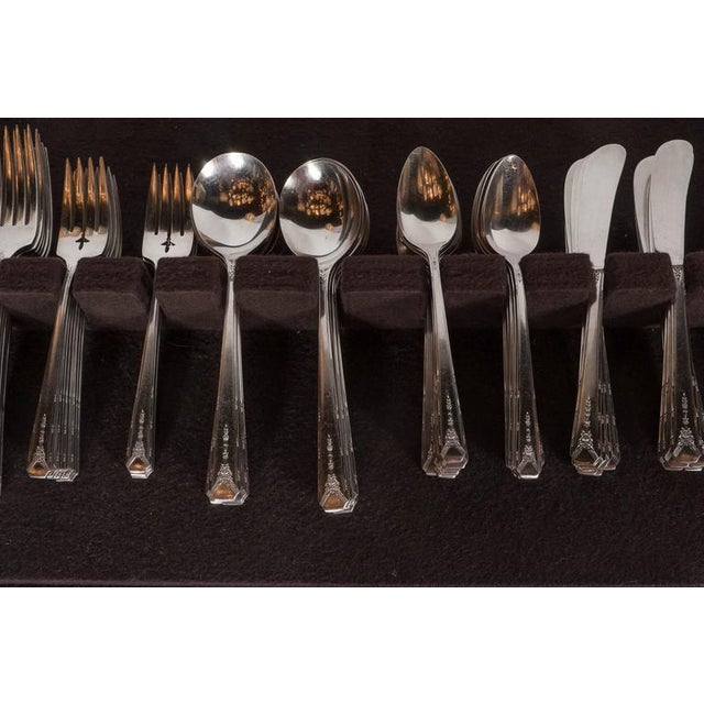 Community Art Deco Silver Plate Set of 12 Flatware by Community For Sale - Image 4 of 11