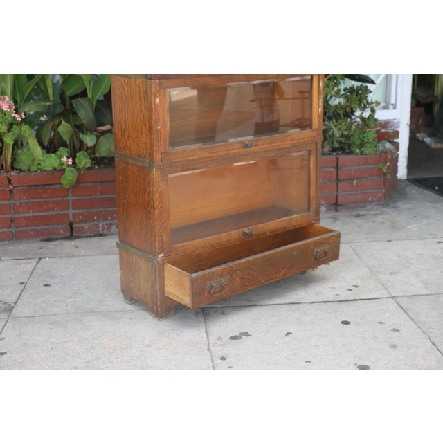 Wood Antique Lawyers Bookcase For Sale - Image 7 of 11