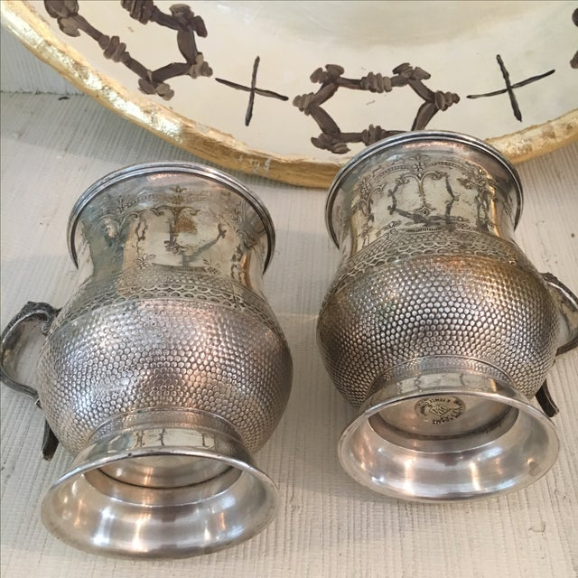 Vintage Silver Plated Etched Mugs/Tankards - Pair For Sale - Image 4 of 6