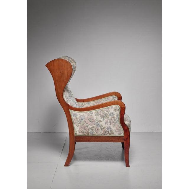 Mid-Century Modern Frits Henningsen Wingback Lounge Chair, Denmark, 1940s For Sale - Image 3 of 5
