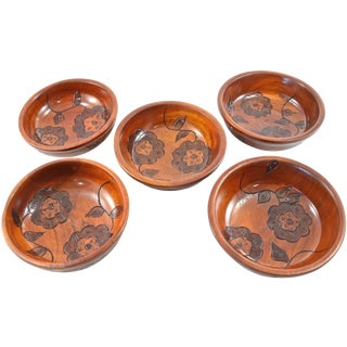 Vintage Hand Carved Floral Wood Bowls - Set of 5