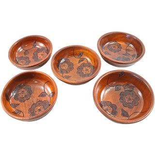 Vintage Hand Carved Floral Wood Bowls - Set of 5 For Sale