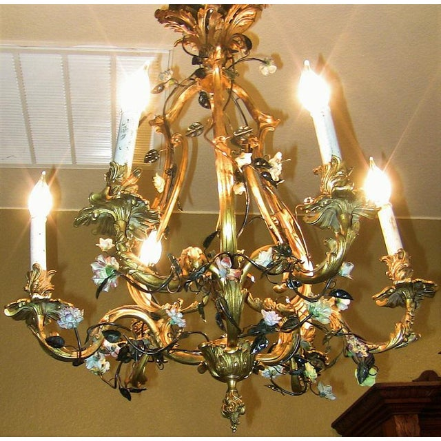 19c French Gilt Bronze Chandelier With Porcelain Flowers For Sale - Image 13 of 13