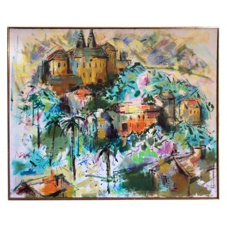 Signed Mid-Century Modern Oil on Canvas of Palm Tree Village by Thomas Maley For Sale