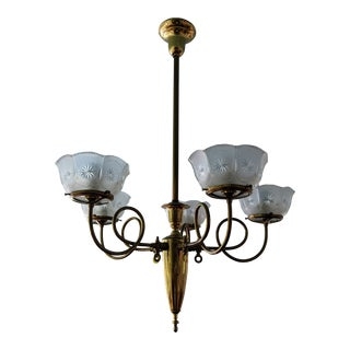 Antique Victorian 5-Light Scrolled Arm Chandelier For Sale