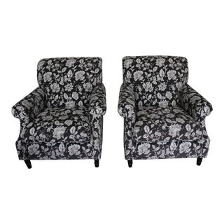 "Bassett "" Dawson"" Chairs in Cream & Black Floral Print ~ One Pair For Sale"