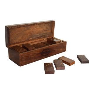 Vintage Modern Dominoes Wood Box Set, by Henkel For Sale