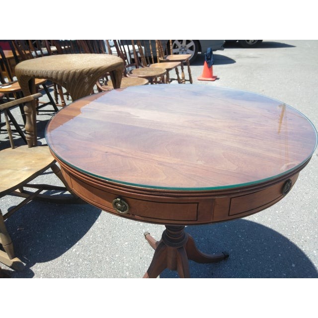 Duncan Phyfe 1950s Neoclassical Revival Mahogany Drum Table For Sale - Image 4 of 6