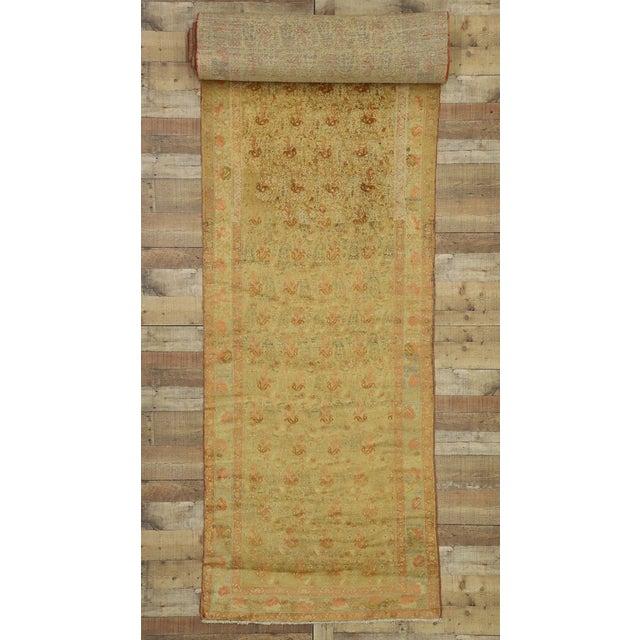 Antique Persian Mahal Long Persian Carpet Runner - 03'09 X 28'04 For Sale - Image 9 of 10