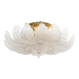 Great Barovier Toso Flush Mount or Chandelier Glass Brass, Italy Mid Century For Sale
