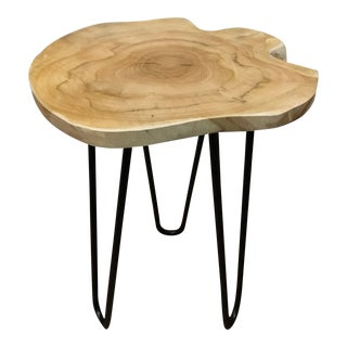 Small Natural Teak Wood Side Table Mid-Century Modern Style