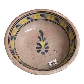 Vintage Mexican Ceramic Pozole Bowl Hand Painted Blue Leaf Flower Pattern Design For Sale