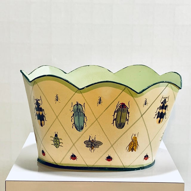 Vintage tole planter jardiniere, cache pot metal hand painted insect motif. Rare and lovely, charming and whimsical, a...