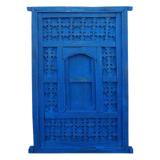 1970s Vintage Distressed Moroccan Blue Door For Sale