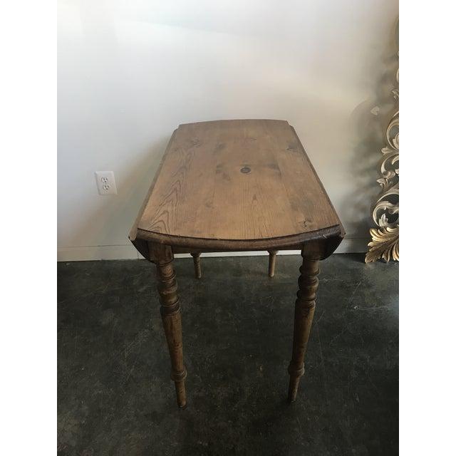 Brown Double Drop Leaf Antique Pine Table For Sale - Image 8 of 9