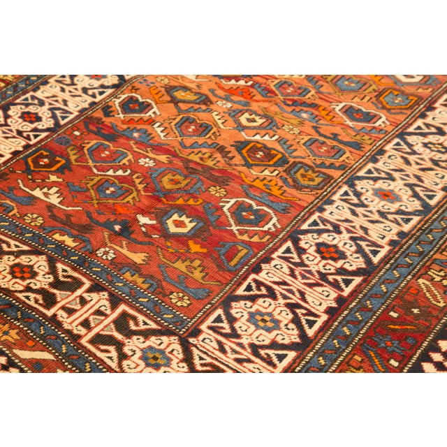 Antique Persian Rug Shirvan Design With Dainty Heart-Shaped Patterns Circa 1930's - 4′2″ × 9′8″ For Sale - Image 4 of 12