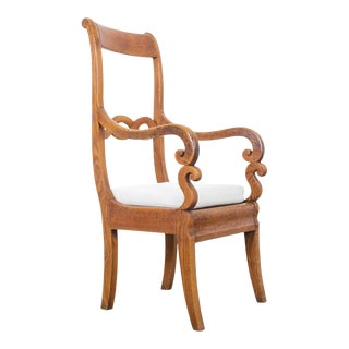 Antique Carved French Armchair For Sale