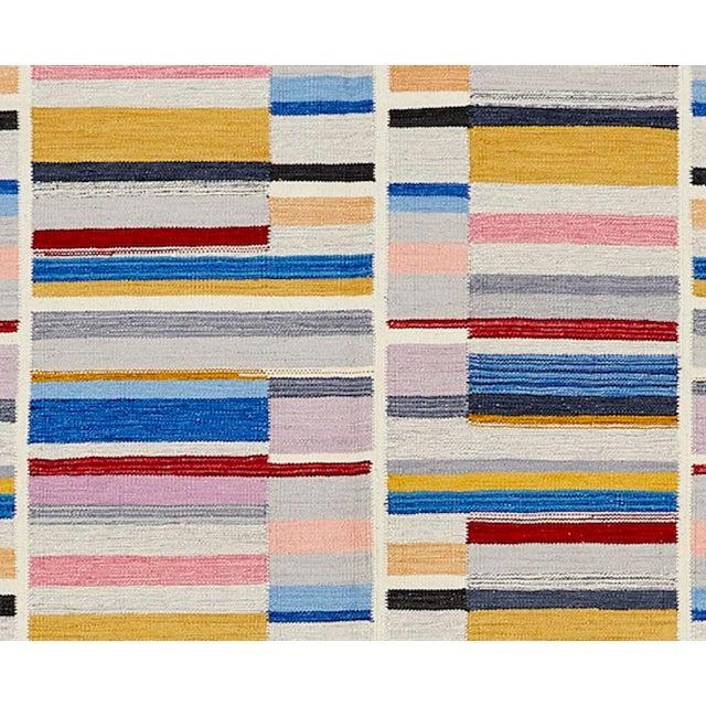 Schumacher Schumacher Patterson Flynn Martin Stella Hand Woven Wool Striped Rug For Sale - Image 4 of 5