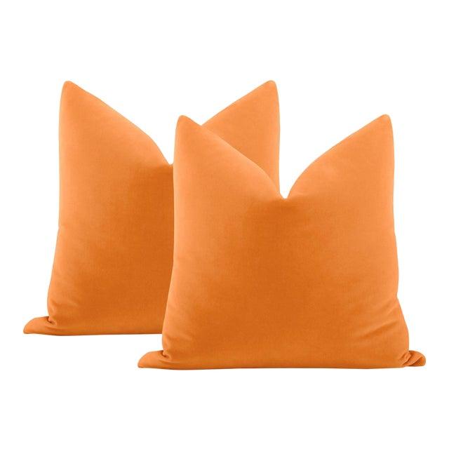 """22"""" Hermes Orange Italian Velvet Pillows - a Pair For Sale"""