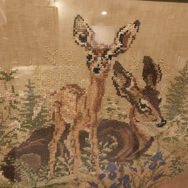 Vintage Deer With Fawn Cross Stitch Framed Textile Art For Sale In Miami - Image 6 of 12
