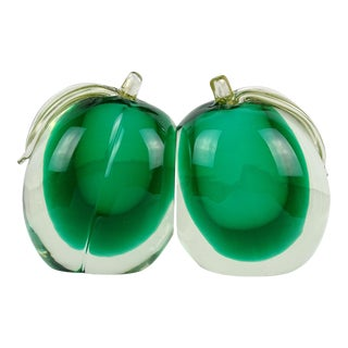 Murano Sommerso Green Gold Flecks Italian Art Glass Mango Fruit Mid Century Bookends - a Pair For Sale