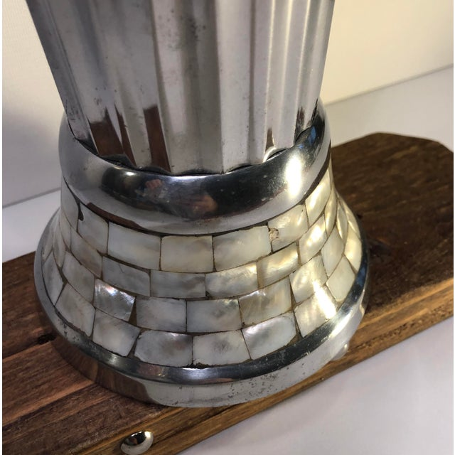 Contemporary Collectible Julie Knight Signed Polished Aluminum With Mother of Pearl Vase Silver and Green For Sale In Phoenix - Image 6 of 11