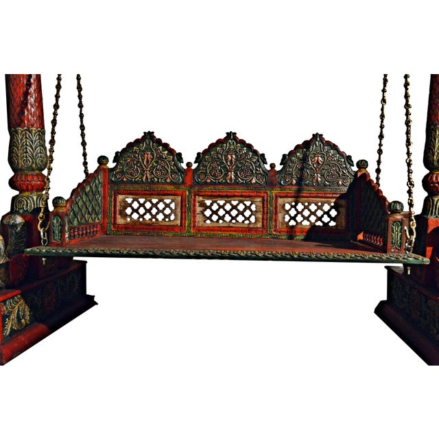 Carved Elephant & Peacock Wooden Carved Royal Swing Set / Indoor Jhula - Image 4 of 5