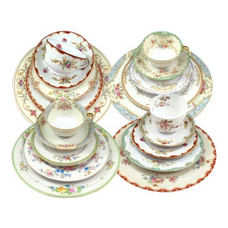 Vintage Mismatched Fine China Dinnerware Set - Service for 4